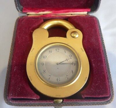 Antique padlock clock by Howell James, boxed
