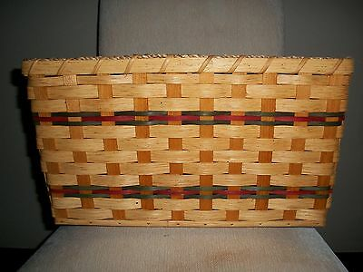 Laundry Basket Amish Made Medium Plain Reed with Green and Burgundy