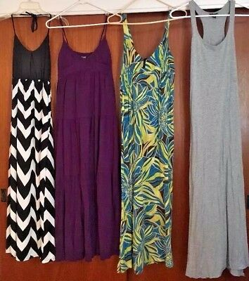 Lot of 4 long maxi dress boho beach dress sexy WOMENS Juniors Medium Cute USA