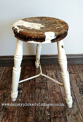 Antique Rustic Vintage 3 leg Old Wooden stool Seat Chair Original metal brace