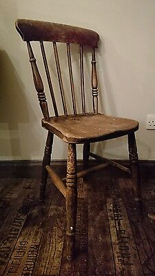 Industrial Vintage oak Restaurant Wooden Chair x1 dark wood spindle back shabby