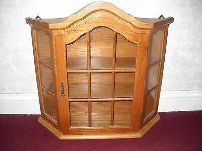 Vintage Oak Standing or Wall Hanging Curio Cabinet with Domed Top & Glass Door