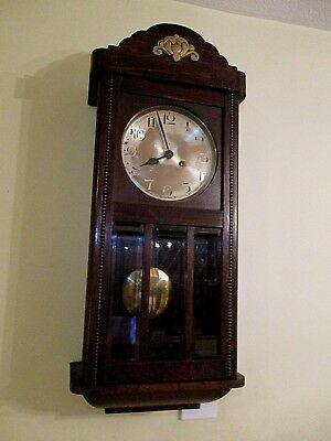 Antique Kienzle Wall Clock - Twin Train Movement - Solid Oak Casing Inc Key/pend