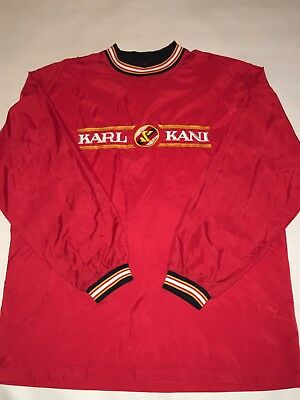 Vintage Karl Kani Outerwear Red Pull Over Crew Neck Windbreaker Jacket SZ L