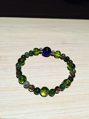 Gemstone Bracelet With Chrome Heart Style Silver Beads - Jade, Crystal, Silver