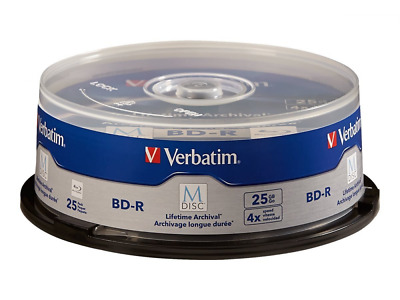 Verbatim M-Disc BD-R 25GB 4X with Branded Surface - 25 Pack Spindle 98909