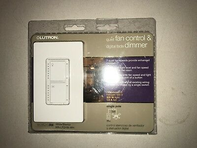 Lutron Quiet Fan Control & Digital Fade Dimmer MA-LFQHW-WH Maestro Duo NEW