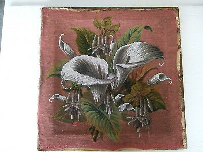 Antique Victorian Tapestry and Beadwork Panel – Calla Lilies and Fuchsia