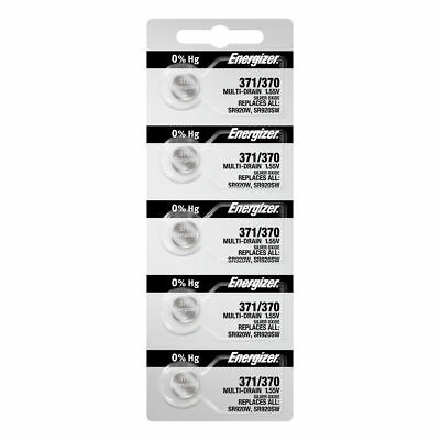 5 x Energizer 371 SR920SW Silver Oxide Watch Battery Made in USA FREE SHIPPING!