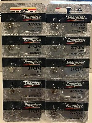 10 x FRESH Energizer 377 376 WATCH BATTERY SR626SW SR626W Silver Oxide Battery