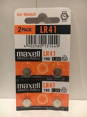 4 NEW MAXELL LR41 AG3 392A 192 SR41 LR736 Cell Batteries Button Watch Alkaline
