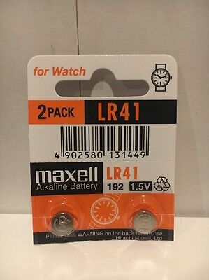 2 NEW MAXELL LR41 AG3 392A 192 SR41 LR736 Cell Batteries Button Watch Alkaline