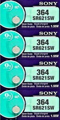 4 New Sony 364 (SR621SW- SR621-D364-V364) Silver Oxide Watch Battery EXP 2019