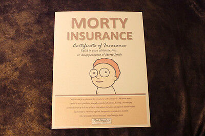 Morty Insurance Policy Certificate - Citadel of Ricks Inspired by Rick and Morty