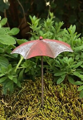 Miniature FAIRY GARDEN Accessories ~ Mini Rustic Red & White Beach Umbrella NEW