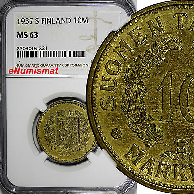 Finland 1937-S 10 Markkaa NGC MS63 BETTER DATE TOP GRADED BY NGC KM# 32A
