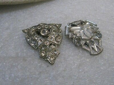 Two Art Deco Dress Rhinestone Dress Clips, One Signed WMCA, 1930's, Silver Tone
