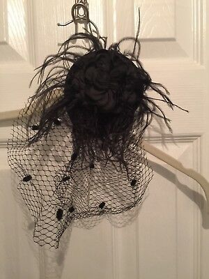 Black Feather Flower Clip/Hat with Netting