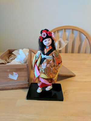 Japanese Geisha Doll In Wooden Box