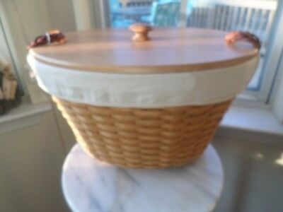 Longaberger Beverage Basket Combo With Ivory Liner And Wood Lid