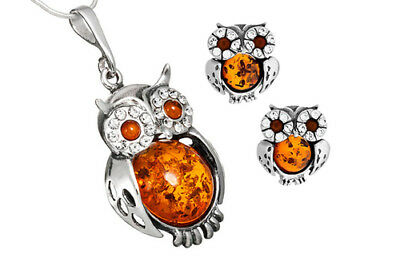 925 Sterling Silver Baltic Amber Owl Pendant Stud Earrings Set Jewellery +Chain