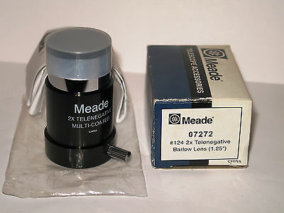 "Meade 07272 #124 2x Telenegative Barlow Lens 1.25"" New Old Stock. Telescope acc"