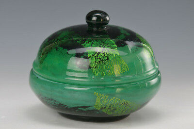 Lidded box, Daum Nancy, around 1918-25, so- called Verre de Jade Rare