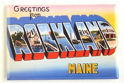 Greetings from Rockland Maine FRIDGE MAGNET (2 x 3 inches)