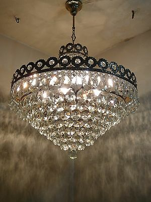 Vintage 6 light Brass and Crystal Old Basket Chandelier (24 inch. diameter)