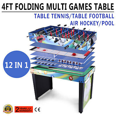 4 FT 12 IN 1 Folding Multi Games Play Table Table Tennis Mount Air Hockey