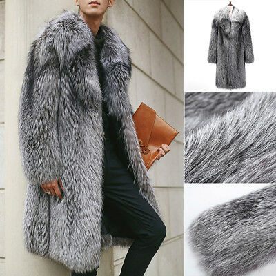 Men's Warm Fur Gray Coat Long Jacket Plus Faux Fox Fur Collar Outwear Oversized