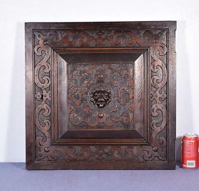 *French Renaissance Revival Antique Carved Panel/Door Oak Wood with Lion 1