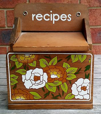 Vintage Retro Wooden Recipes File Box Storage Holder Timber Wood