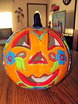 Talavera Pottery Halloween Pumpkin Imported Mexico Candle/light Jack O' Lantern