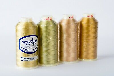 Marathon Viscose Rayon Embroidery machine thread: Shade Pack -  Golds 1000m x 4