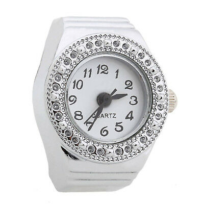 Ring Watch Quartz Silver Alloy Round Sphere for Women Dame C6S2