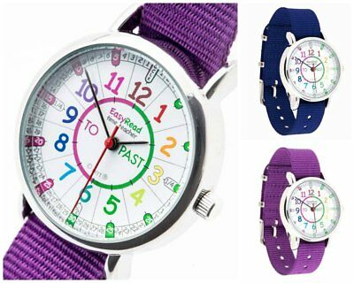 EasyRead Time Teacher Kids Watch Rainbow Face Purple or Blue Band