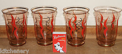 1930s Glasses Red Gold Etched Swirl Tumblers Fine Glass Water Set 4 Vintage