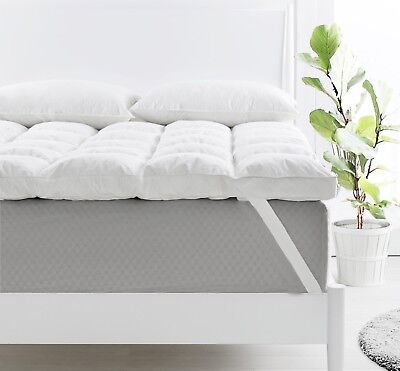 Luxurious Duck Feather & Down Mattress Topper/Pad 1800gsm 9cm Deep Cotton Cover