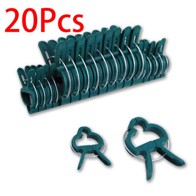 20Pcs Plastic Garden Cane Support Sprung Plant Clips Spring Shrub Ties 2 Sizes