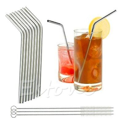 8Pc Stainless Steel Metal Drinking Straw Reusable Straws + 3 Cleaner Brush