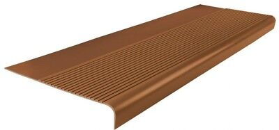 Rubber Non Slip Stair Treads Cover Protector Round Nose Tan 12 1/4