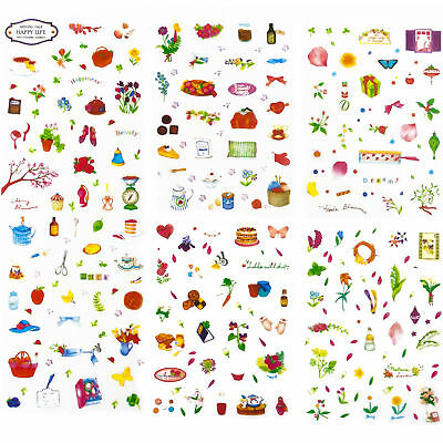 150 x Bunte Blumen Backen Küchen Deko Mini Sticker - Kinder Scrapbooking
