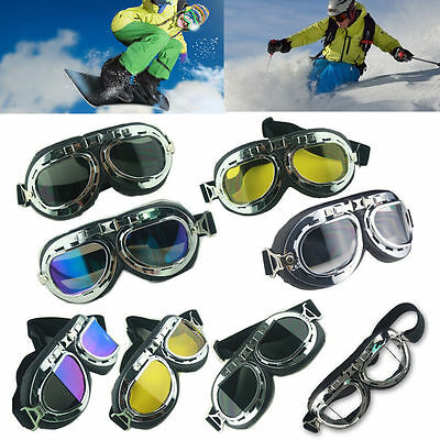 Retro Motorcycle Goggles Motorbike Flying Scooter Pilot Aviator Helmet Glasses