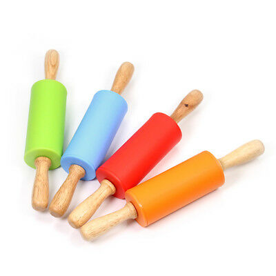 9 inch Non-stick Silicone Rolling Pin With Wood Handle Kitchen Tool For Children
