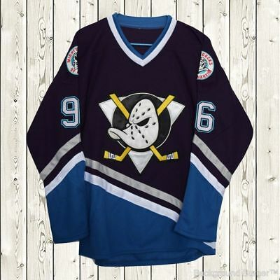 Charlie Conway Hockey Stitched Jersey The Mighty Ducks Movie #96 Navy Blue Style