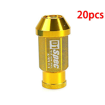 M12X1.5 Thread Gold Chrome Aluminum Racing Extended Wheel Lug Nuts 20Pcs/set