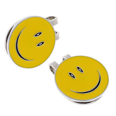 Alloy Smile Face Golf Hat / Visor Clip with Magnetic Ball Marker Set of 2