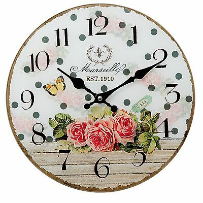 Clayre&Eef Vintage Wall clock Nostalgic Country Style Shabby Roses Chic
