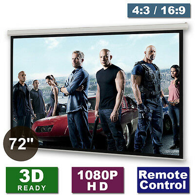 """72"""" Motorised Projector Projection Screen Matte-White Home Cinema 16:9 4:3 3D HD"""